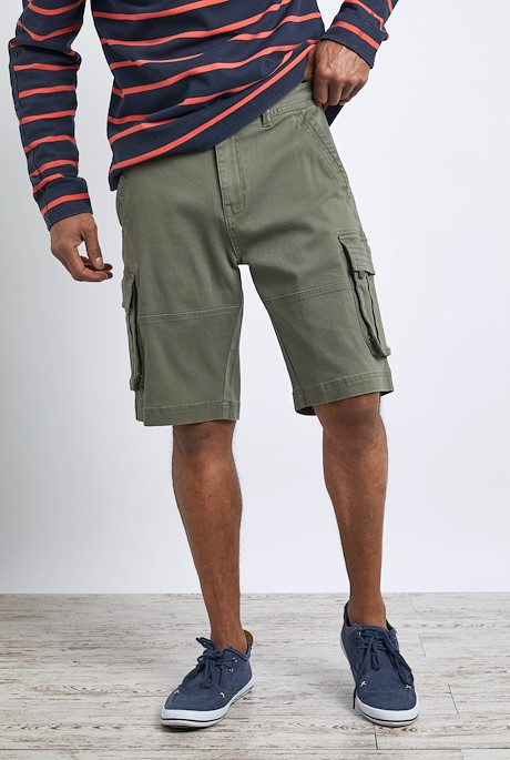 Rigney Organic Cotton Cargo Shorts Dark Olive