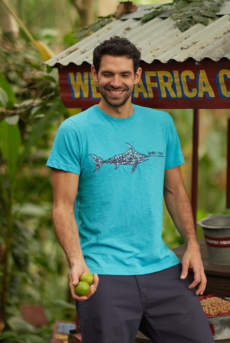 Swordfish Organic Cotton Embroidered T-Shirt Turquoise