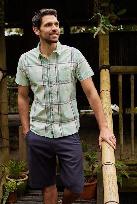 Barak Short Sleeve Check Shirt Soft Green