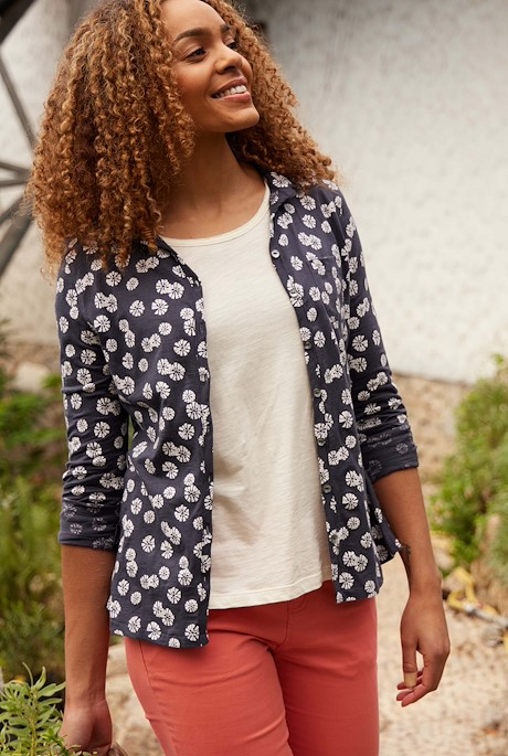 Ginny Organic Cotton Printed Jersey Shirt Navy