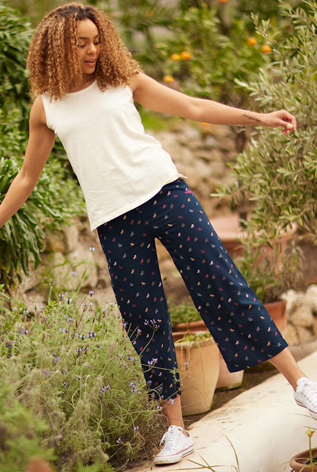 Tresco Printed Wide Leg Crop Trousers Navy