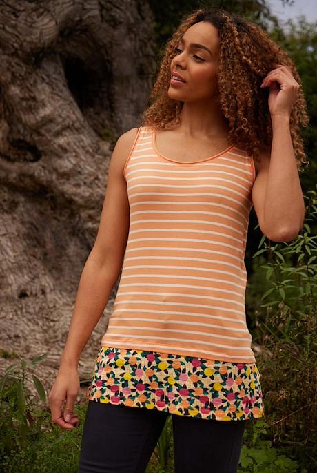 Moha Organic Cotton Longline Vest Apricot