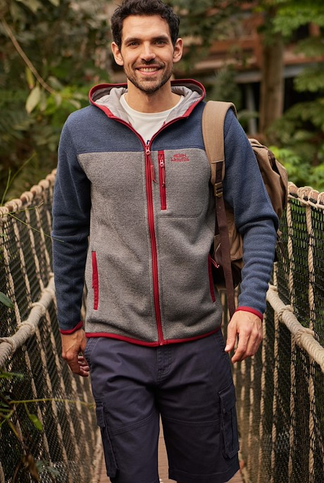Driscoll Colour Block Soft Knit Hoodie Navy