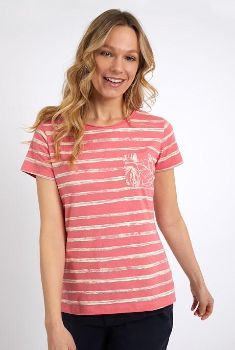 Woodland Organic Cotton Stripe T-Shirt Tea Rose