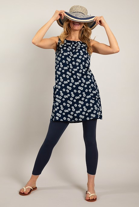 Juhi Printed Viscose Tunic Navy