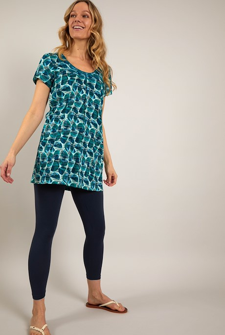 Santo Embroidered Viscose Tunic Bottle Green
