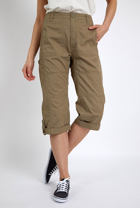 Salena Organic Cotton 3/4 Length Trousers Khaki