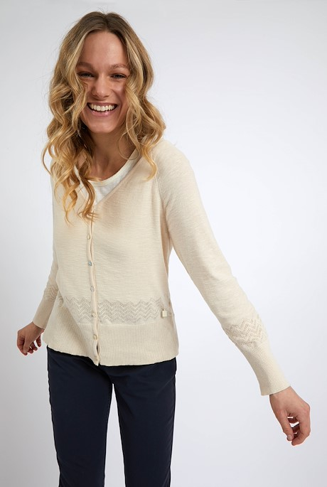 Curran Organic Cotton Lightweight Cardigan Chalk
