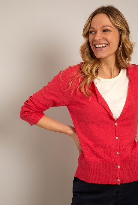 Curran Organic Cotton Lightweight Cardigan Dark Pink