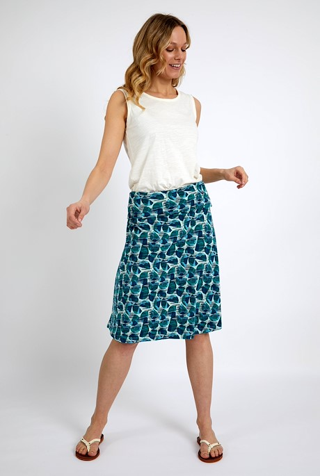 Malmo Organic Cotton Printed Jersey Skirt Bottle Green