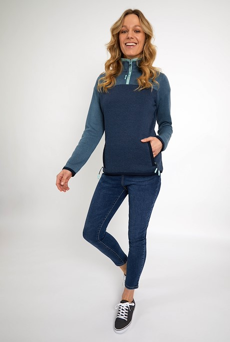 Krisona 1/4 Zip Colour Block Soft Knit Jumper Navy
