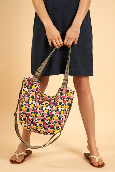 Hollington Printed Canvas Shoulder Bag Apricot