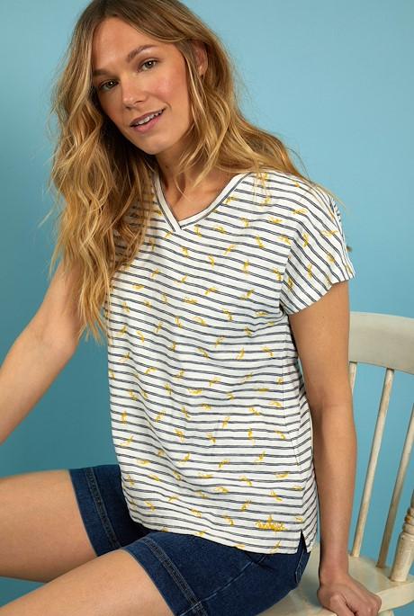 Carlita Organic Cotton Embroidered T-Shirt Light Cream