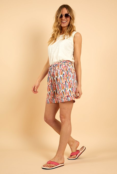 Sundance Printed Beach Shorts Light Cream