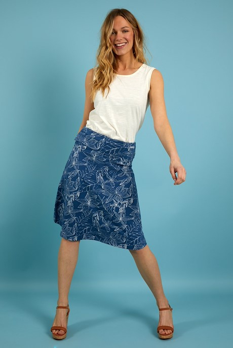 Malmo Organic Cotton Printed Jersey Skirt Ensign Blue