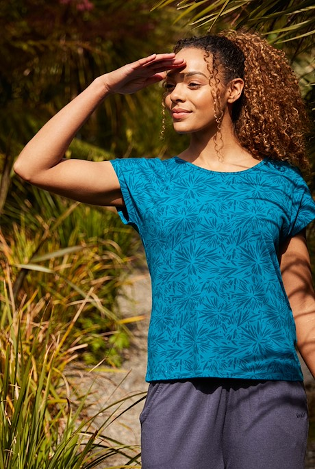 Kiana Bamboo Printed T-Shirt Blue Sapphire