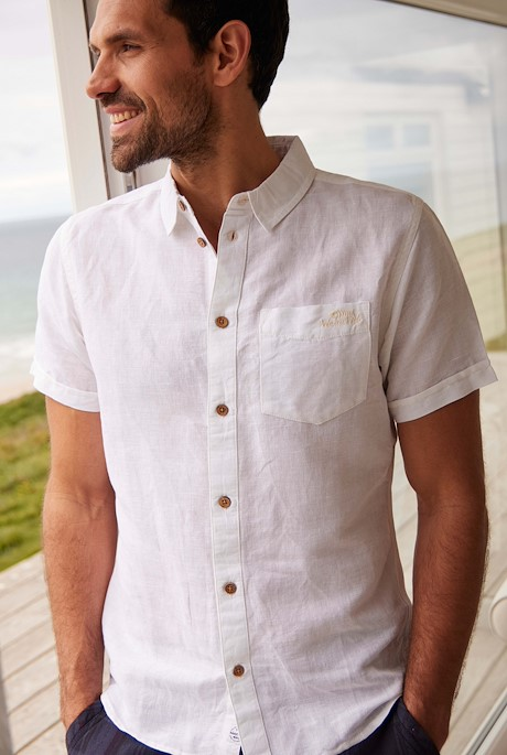 Westray Short Sleeve Linen Rich Shirt Marshmallow