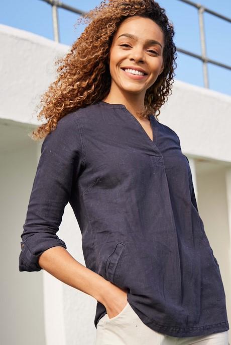 Arran Longline Linen Shirt Navy