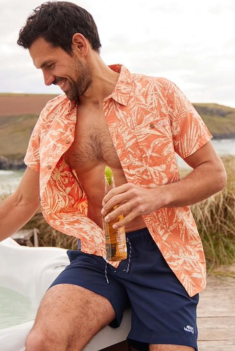 Thomkins Organic Cotton Hawaiian Print Shirt Orange