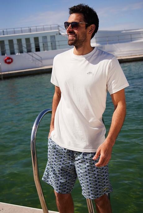 Fishbone Printed Board Shorts Blue Mirage