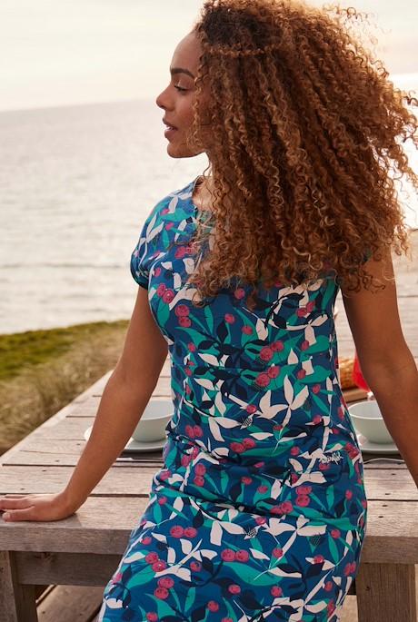 Tallahassee Organic Cotton Printed Jersey Dress Majolica Blue