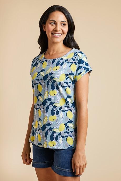 Paw Paw Organic Cotton Printed Jersey T-Shirt Pale Denim