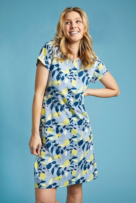Tallahassee Organic Cotton Printed Jersey Dress Pale Denim