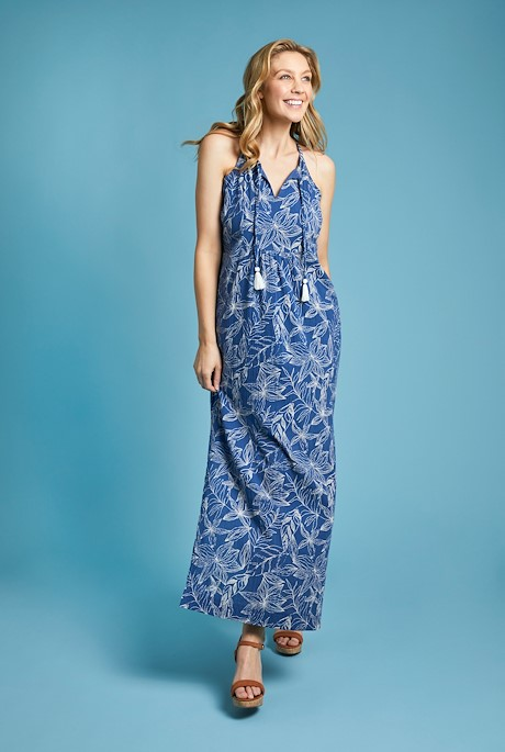 Parma Organic Cheesecloth Printed Maxi Dress Ensign Blue
