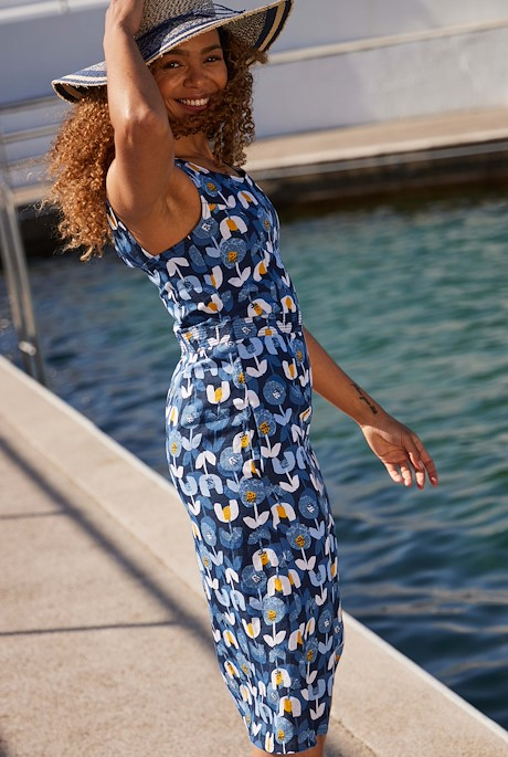Fowey Printed Linen Maxi Dress Nightshade