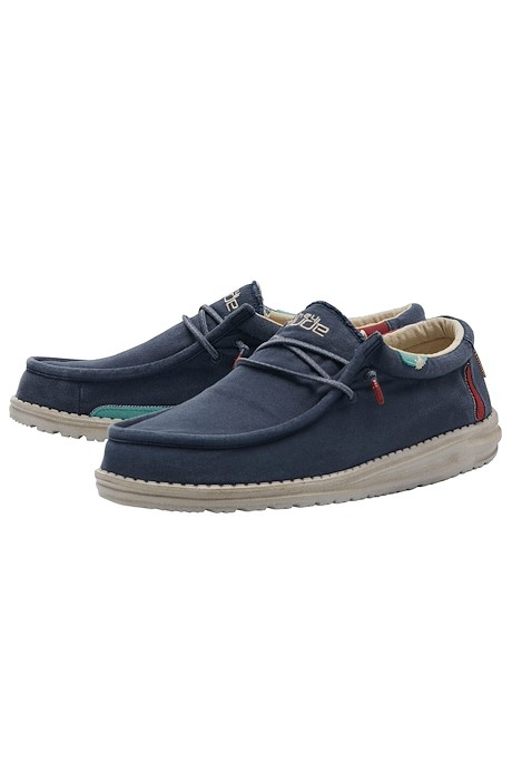 Hey Dude Wally Washed Blue Deck Shoe Blue