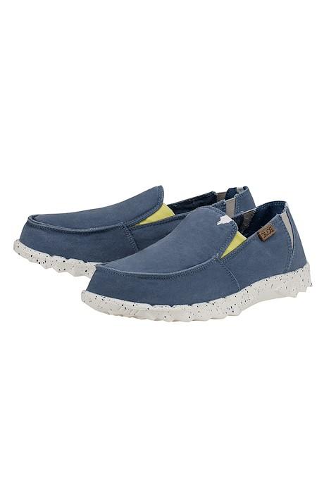 Hey Dude Farty Washed Blue Slip On Shoe Washed Blue