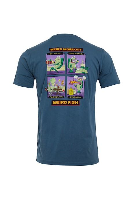 Weird Workout Organic Cotton Artist T-Shirt Blue Mirage