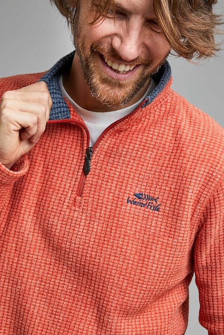 Newark 1/4 Zip Grid Fleece Rust