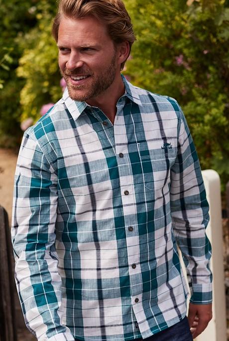 Canton Organic Long Sleeve Check Shirt  Petrol Blue