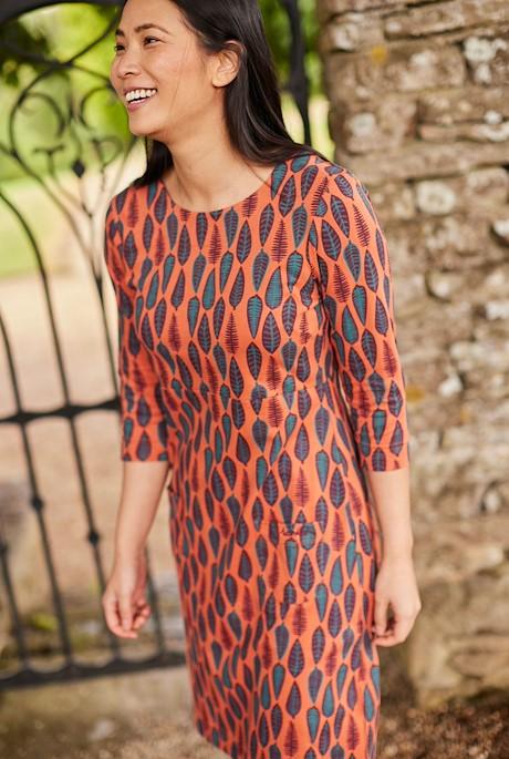 Starshine Organic Cotton Printed Jersey Dress Rust