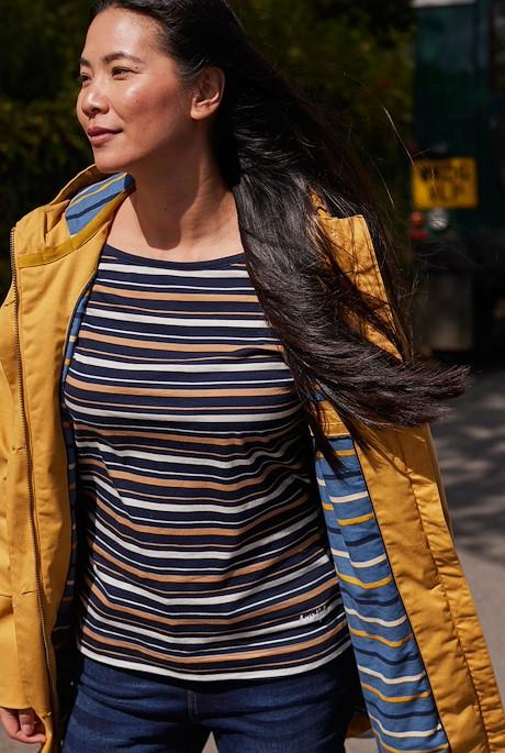 Cecilia Organic Cotton Striped T-Shirt Mustard