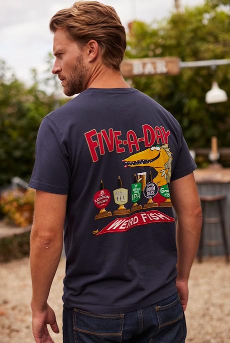 Five A Day Organic Artist T-Shirt Navy