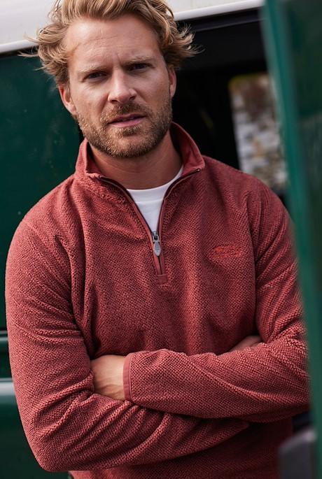 Errill 1/4 Zip Textured Fleece Brick Red