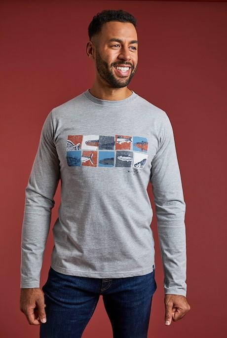 Fish Box Eco Branded Graphic T-Shirt Grey Marl