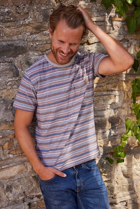 Anderson Jacquard Striped T-Shirt Rust