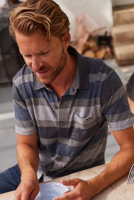 Fergal Nepp Striped Jersey Shirt Cement