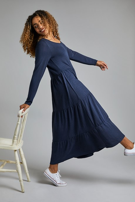 Carbis Plain Jersey Maxi Dress Navy Marl