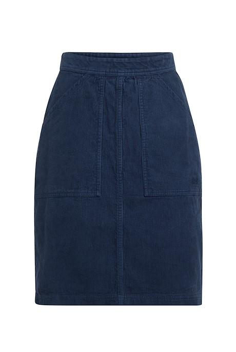 Zafia Plain Cord Skirt Navy