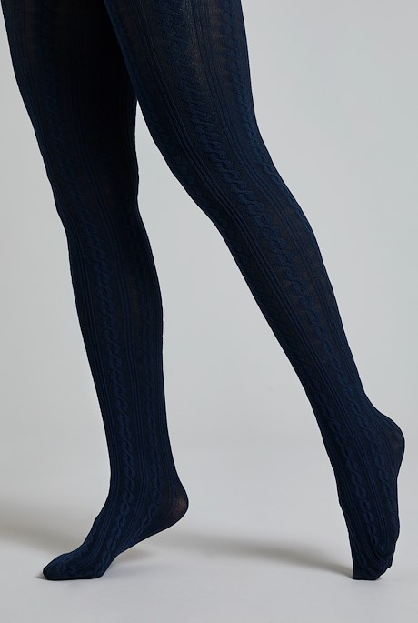 Kendra Cable Tights Navy