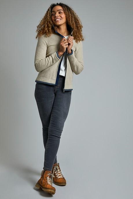 Ariana Tall Grid Full Zip Fleece Taupe Grey