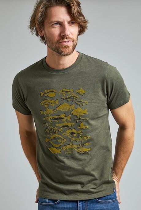 Fish Fest Eco Branded Graphic T-Shirt Dark Olive