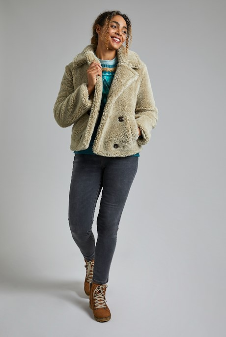 Jessima Cosy Borg Coat Taupe