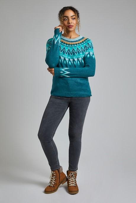 Liza FairIsle Knit Jumper Petrol Blue
