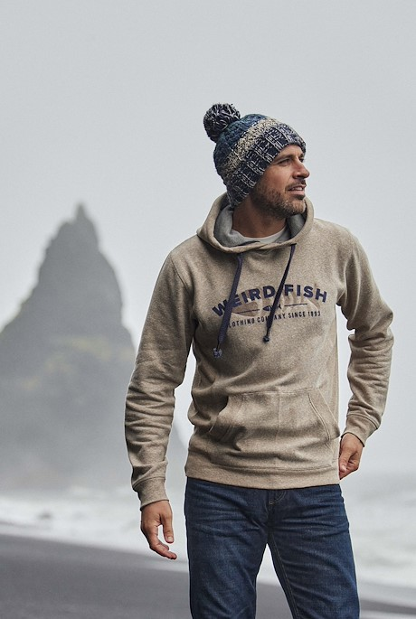 Olten Eco Snow Marl Popover Hoodie Taupe Grey