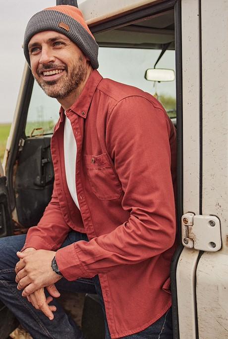 Stocker Long Sleeve Oxford Shirt Brick Red